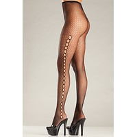 Fishnet Pantyhose with Keyhole Design Sides