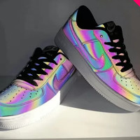 """Nike Air Force 1"" Unisex Casual Fashion Chameleon Low Help Plate Shoes Couple Sneakers"