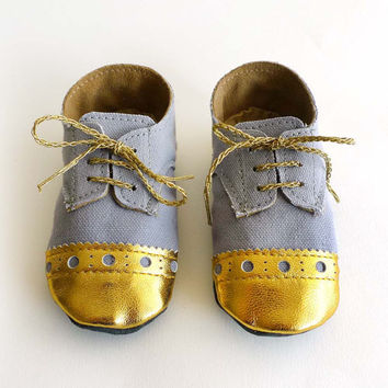 Baby Boy or Girl Shoes - Gray Canvas with Brogued Gold Leather Crib