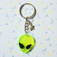 Acrylic Alien Keychain, Outer Space Alien Key Chain, 90's Grunge