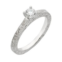 Round Diamond Engraved Solitaire Ring 5/8ctw