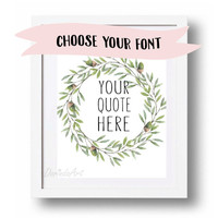 Personalized quote printable poster Custom Quote Fresh green wall art print Green leaves wreath printable Green Home decor Acorn wreath Gift