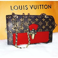 LV fashion lady Dionysus printed patchwork color shoulder bag shopping bag LV Coffee print+Red