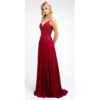 Appliqued Long Prom Dress with Lace-Up Back Burgundy