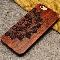 Handmade Carving Imperfect Beauty Sunflowers Wood  Case For Iphone 5/5S/6/6Plus