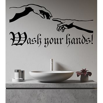 Vinyl Wall Decal Art Creation of Adam Wash Your Hands Hygiene Rules Bathroom Decor Stickers (4270ig)
