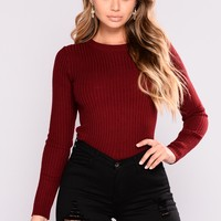 It's Necessary Ribbed Top - Burgundy
