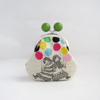 Green Bead Coin Purse - girls with balloons