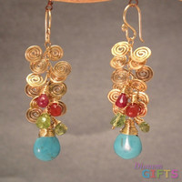 """Hammered swirls with pink ruby, mandarin garnet, peridot, and sleeping beauty turquoise, 2-1/2"""" Earring Gold Or Silver"""