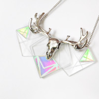 Glass holographic hologram geometric necklace, hand engraved graphic lines and silver deer skull