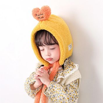 Children's Hat Autumn And Winter Baby Girl Cute Super Cute Baby Ear Protection Love Hooded Cap Boy Warm Plush Cap