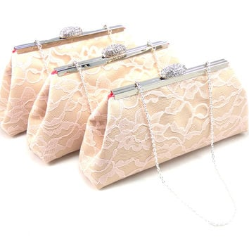 Set of Three Champagne, Blush Pink Lace and Calypso Coral Bridesmaid Gift Clutches