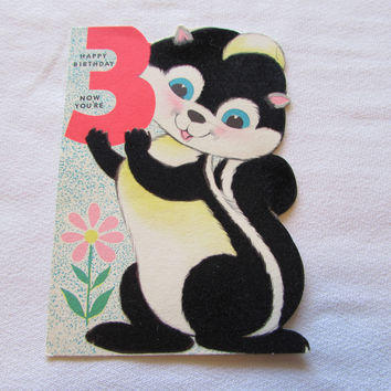 Vintage Happy Birthday 3 Year Old Greeting Card