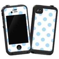 """Baby Blue Polka Dot on White """"Protective Decal Skin"""" for LifeProof 4/4S Case"""
