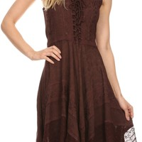Sakkas Calleea Mid Length Embroidery Sleeveless Spaghetti Strap Corset Batik Dress