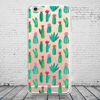 Transparent Clear Soft Silicone TPU Cactus Plants Phone Back Cover Case For iPhone 6 6s