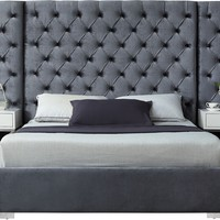 Grande Grey Velvet Queen Bed