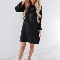 Get To Work Dress: Black