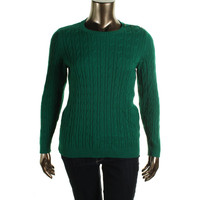 Charter Club Womens Plus Cable Knit Ribbed Trim Pullover Sweater