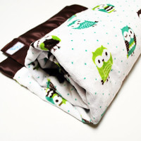 Owl Blanket - Wise Green Owls Minky Blanket with Brown Satin Binding - Made to Order