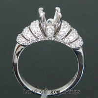 Diamond Engagement Semi Mount Ring 14K White Gold Setting Round 6.5mm