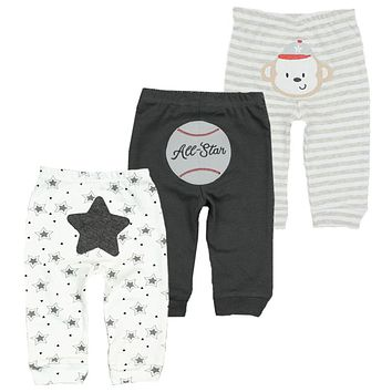 3pcs/lot 2018 Casual Trousers Baby Pants Spring Cotton Baby leggings Kid Wear Infant clothes Mid Waisted Pants For Girls Boys