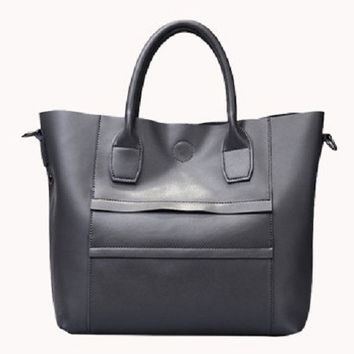 Anita Leather Tote Bag Grey