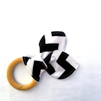 Natural Wooden Teething Ring - Black and White Chevron Teether - Maple Hardwood Teething Ring - Bunny Ears Teether - Natural Teething