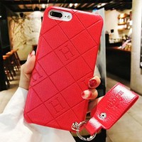 Hermes New fashion letter print couple leather protective case phone case Red