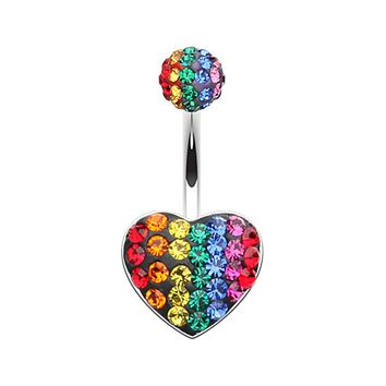 Rainbow Heart Multi-Sprinkle Dot Belly Button Ring