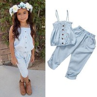 Girls Jeans Top T-shirt +Pants Outfit Set