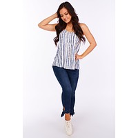 At Day Break Tie Dye Babydoll Tank Top (Navy/Ivory)