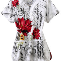 S.C.R.U.B.S. Floral Couture y-neck print scrub top. - Scrubs and Beyond