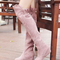 Slim Faux Suede Wedges Over the Knee Boots Women 6947