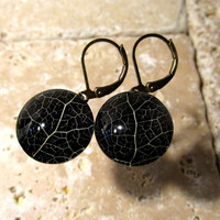 Skeleton Leaf of Salal Earrings with Black background, Plant jewelry, leaf jewellery, Rustic, woodland, nature,
