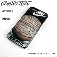 Nike Just Do It Quote Basketball For Iphone 6 Case UY