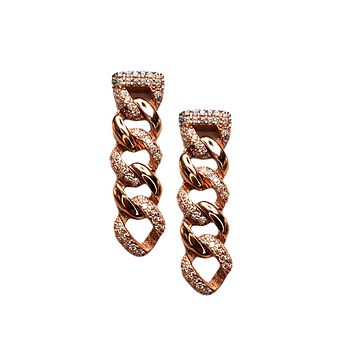 Clear Zircon Thick Mix Cuban Chain Dangling Stud Earring Handcrafted 925 Sterling Silver
