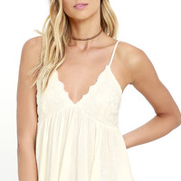 Leaves of Grass Cream Embroidered Top