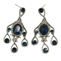 classic blue crystal pendant silver earrings