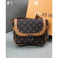 LV Louis Vuitton tide brand color flip flap lock printed small square bag wild shoulder slung handbag #1