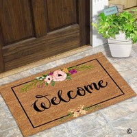 Autumn Fall welcome door mat doormat  Entrance Mat Welcome Flowers Patten Non-slip  Machine Washable Non-woven Fabric AT_76_7