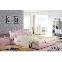 Traditional Royal Leather Queen Size Bed Set Furniture