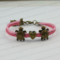 Couples the tortoise heart charm bracelet, bronze charm, personalized gifts boyfriend and girlfriend,