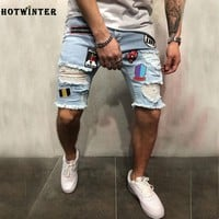 Trend personality men's fashion pop high street hole patch patch pants pants stretch denim shorts