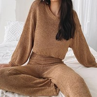 2020 autumn and winter new women's fashion casual solid color long-sleeved sweater trousers two-piece suit