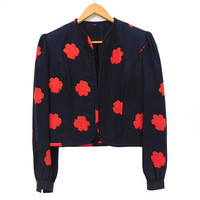 Vintage 80s Quilted Silk Jacket - Sz M Women's Designer Black and Red Flower Print Quilted Collarless Open Front Blazer - David Hayes
