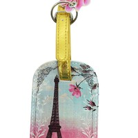 Papaya Art Vintage Paris France Eiffel Tower Graphic Art Design Luggage Tag