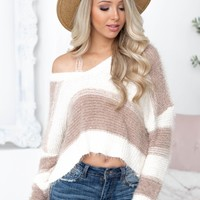 Stripe Fuzzy Crop Top