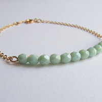 Opaque Seafoam & gold chain bracelet-Opaque Seafoam glass beads on a gold plated chain, Bracelet