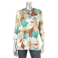 Alfred Dunner Womens Embellished Printed Tunic Top